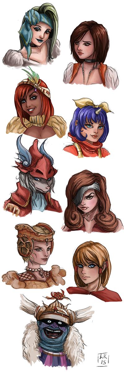 FF9 Ladies (colour) by LornaKelleherArt