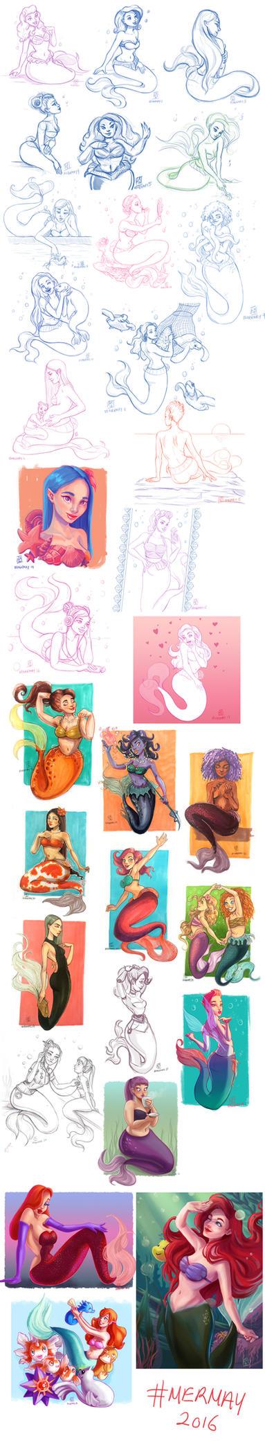 Mermay Sketchdump by LornaKelleherArt