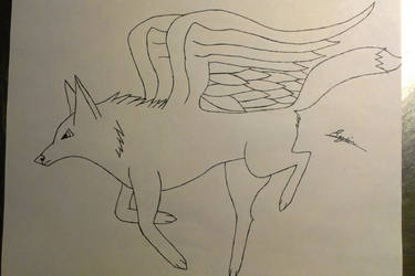 A winged wolf