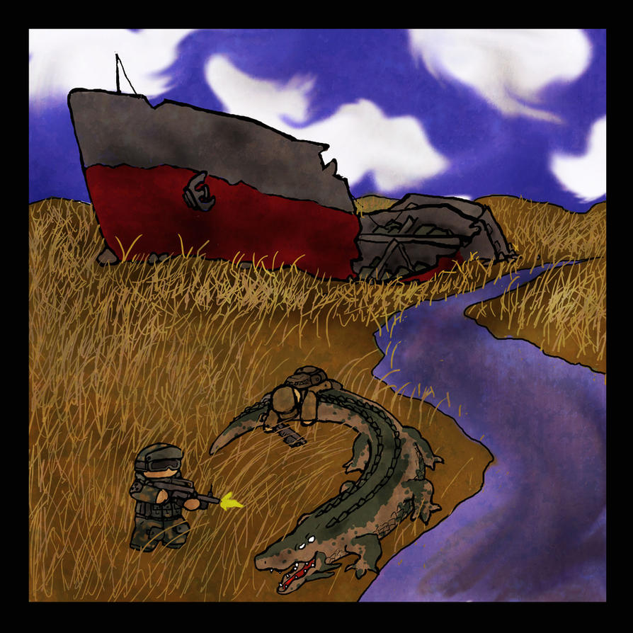 Stalker attacked by Crocodile by Yoblicnep