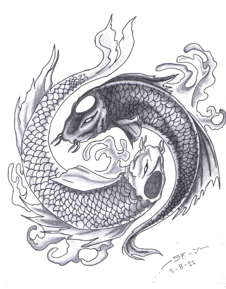 yin and yang koi by ramonkun on deviantart. Black Bedroom Furniture Sets. Home Design Ideas