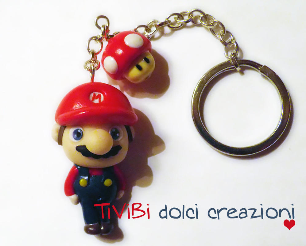 Super Mario Bros. and Mushroom keychain by tivibi