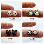 Ghibli stud earrings fanart