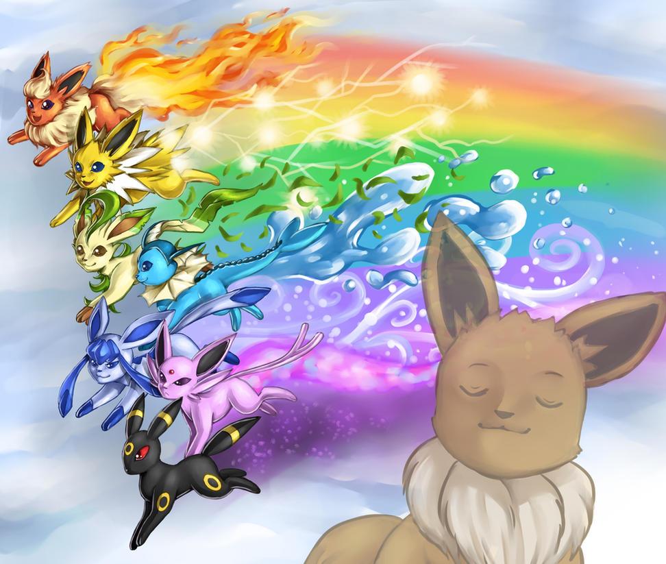 Rainbow Eeveelutions by madelezabeth