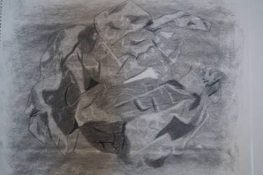 Crumpled Paper Charcoal Drawing by AshleyWass