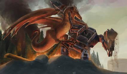 Mecha Knight vs Dragon by eatalllot