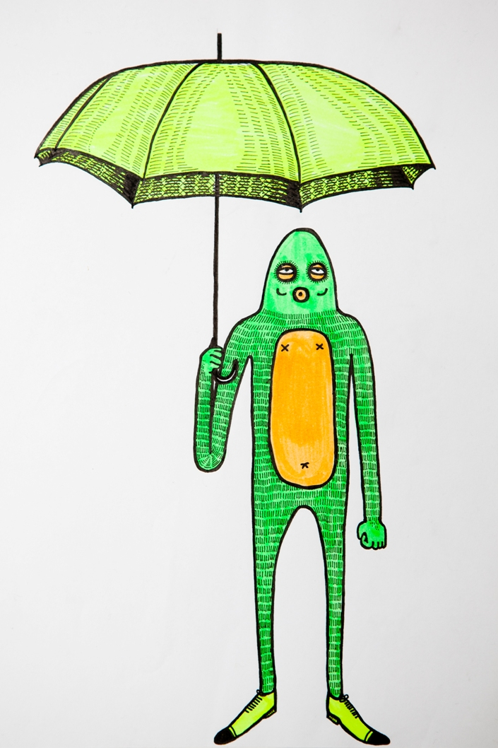 Hairy Frog Man and His Umbrella by MulgaTheArtist