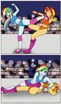 Rainbow Dash vs Sunset Shimmer by Linedraweer