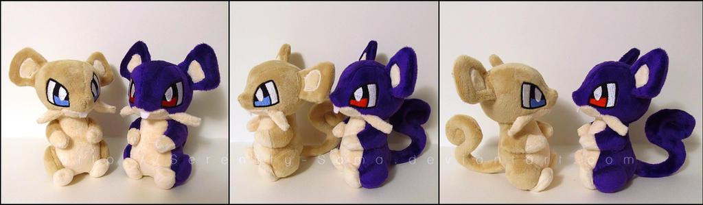 Plushie: Rattata + Shiny Rattata - Pokemon by Serenity-Sama