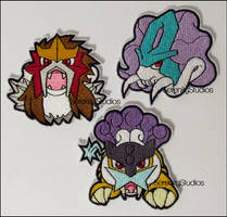 Raikou, Suicune and Entei Patches by Serenity-Sama