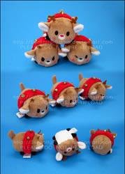 Stacking Plush: Rudolph, Blitzen, and Dasher by Serenity-Sama