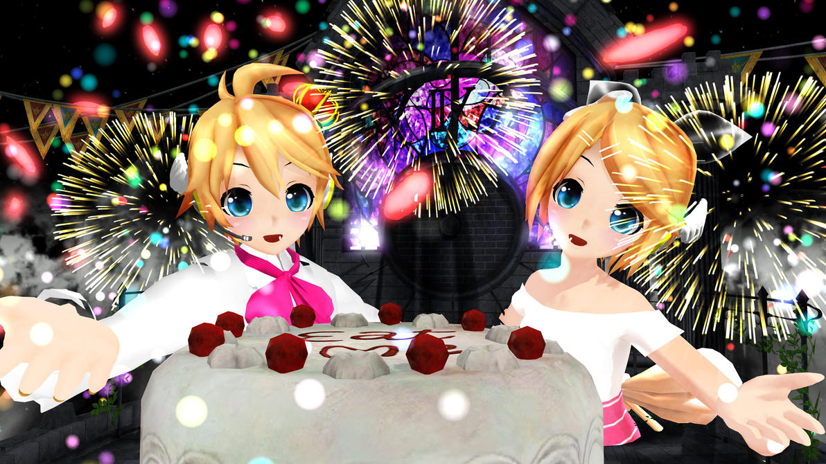 mmd happy rin and len u0026 39 s 6th birthdays       links by