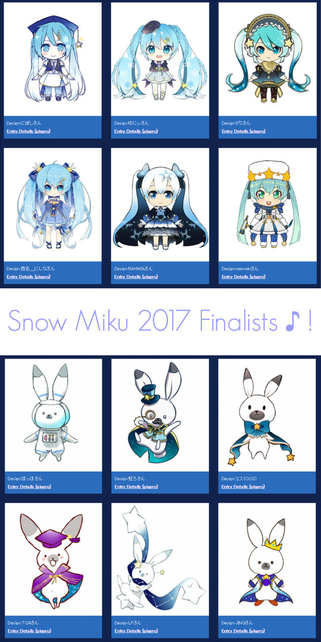 Snow miku 2017 design contest finalists by lenmjpu on Are we going to get snow this year 2016