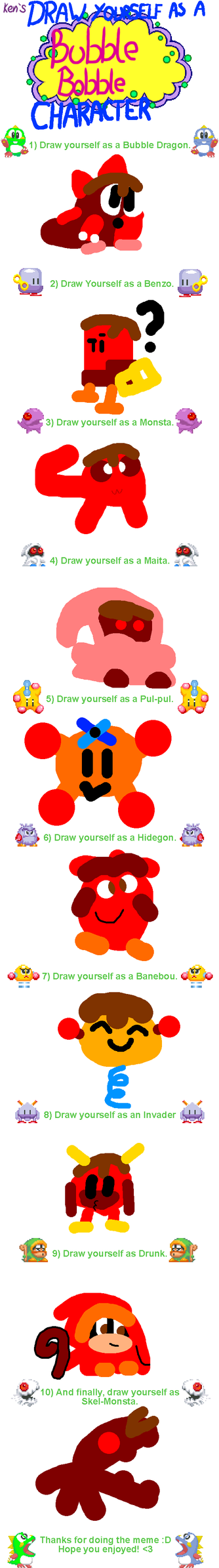 Draw Yourself in Bubble Bobble DONE by ThatBubblun52
