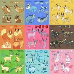 Eeveelution Variants by LinksEyebrows