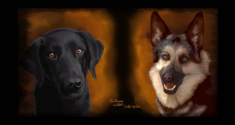 Kazzi and Felicia - Seeing Eye Dogs by WindSeeker