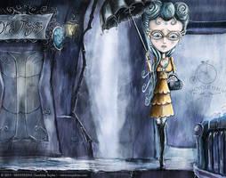 Umbrella girl - Blue Spots by senyphine