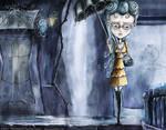 Umbrella girl - Blue Spots