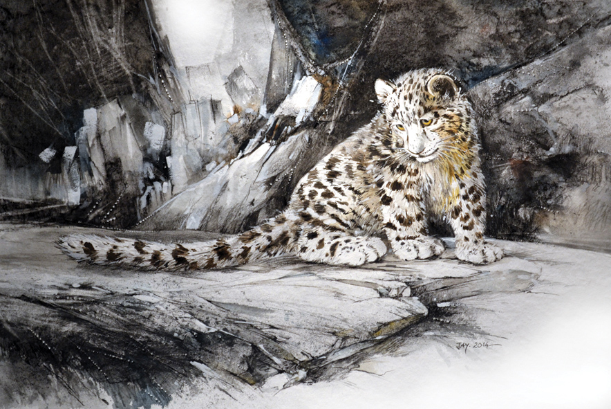Baby White Snow Leopard Baby Snow Leopard Watercolor