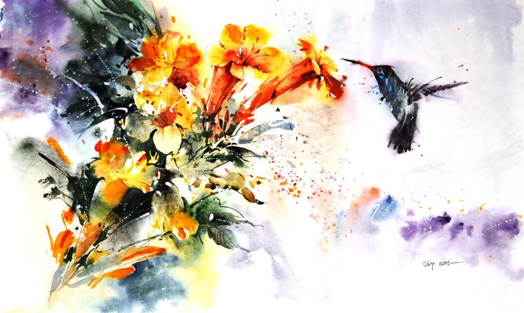 Wildlife Watercolor - Hummingbird