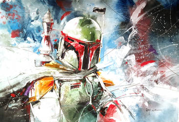 Boba Fett - Watercolour by Abstractmusiq