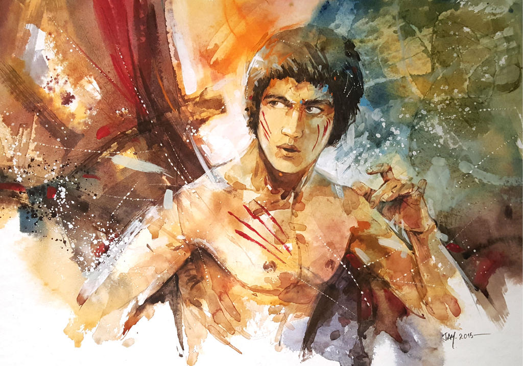 Bruce lee watercolour painting by abstractmusiq on for Lee s painting