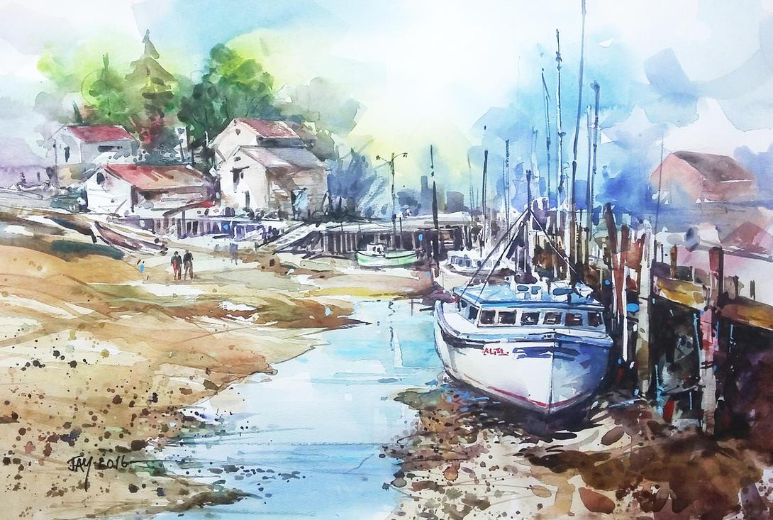 Watercolour Boat Scene by Abstractmusiq