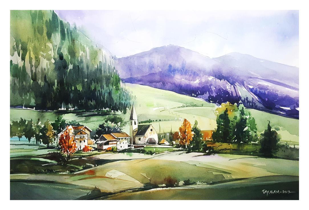 Hillside Landscape Watercolour by Abstractmusiq