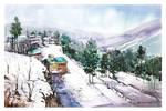 Mountainside Landscape Watercolour