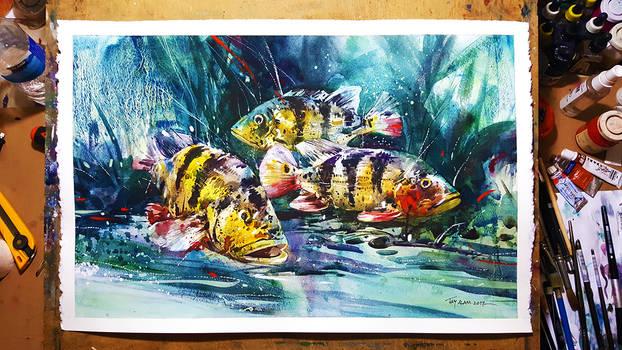 Watercolour Painting - Deep blue