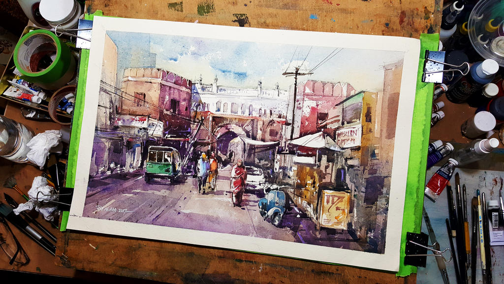 The Market - Watercolor Painting by Abstractmusiq