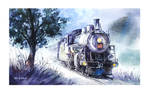 The Midnight Train - Watercolor Painting