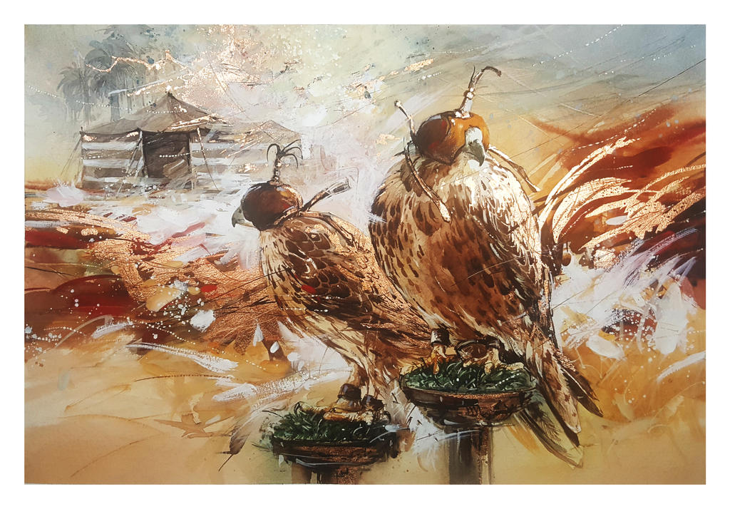 Peregrine Falcons - Watercolor Painting by Abstractmusiq