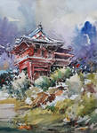 Watercolor Painting - Japanese Garden