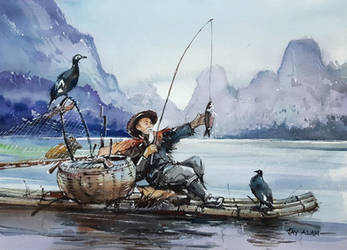 Watercolor Painting - Cormorant Fisherman