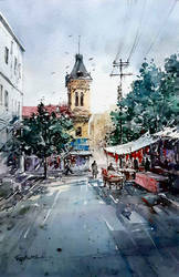 Street Stalls - Landscape Watercolour