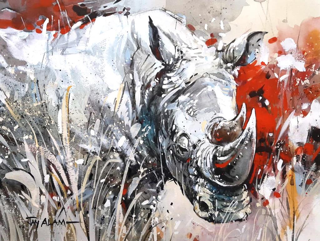 Rhino - Watercolour Painting