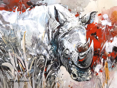 Rhino - Watercolour Painting