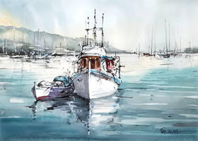 Boat on the Water - Watercolour Painting