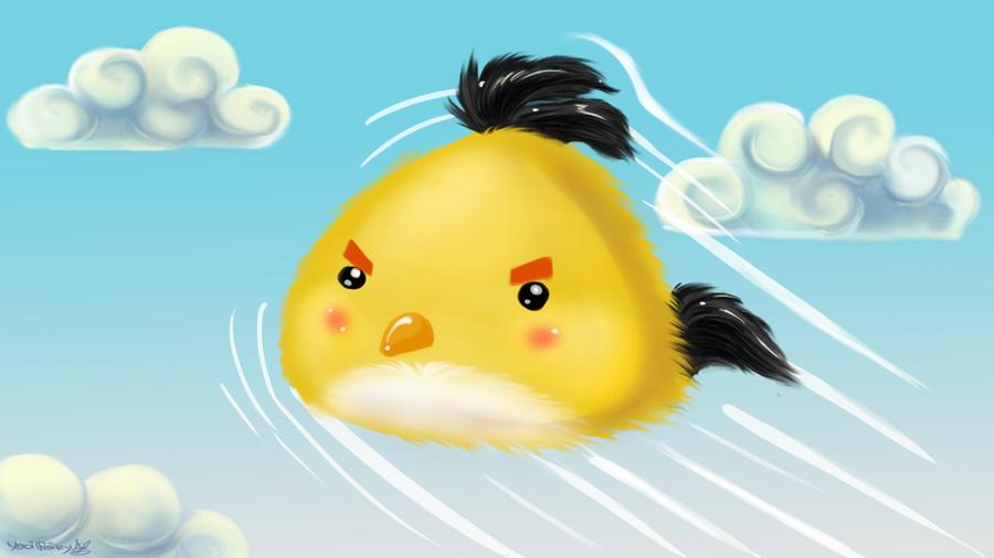 Cute Yellow Angry Bird Wallpaper by GhettoRainbowCat