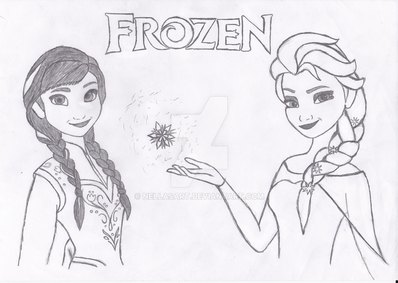 Princess Anna And Queen Elsa From Frozen By Nellasart On Princess Elsa Drawing