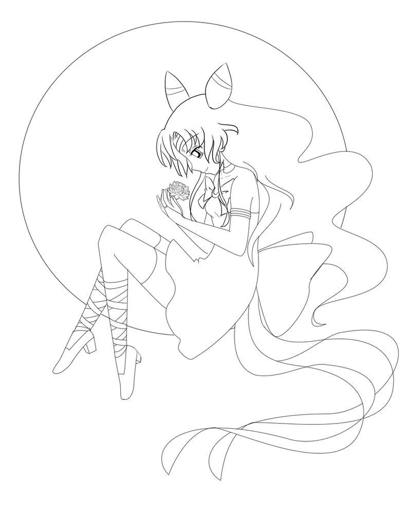 Sailor Nymph Line Art by VioletEmbersYT