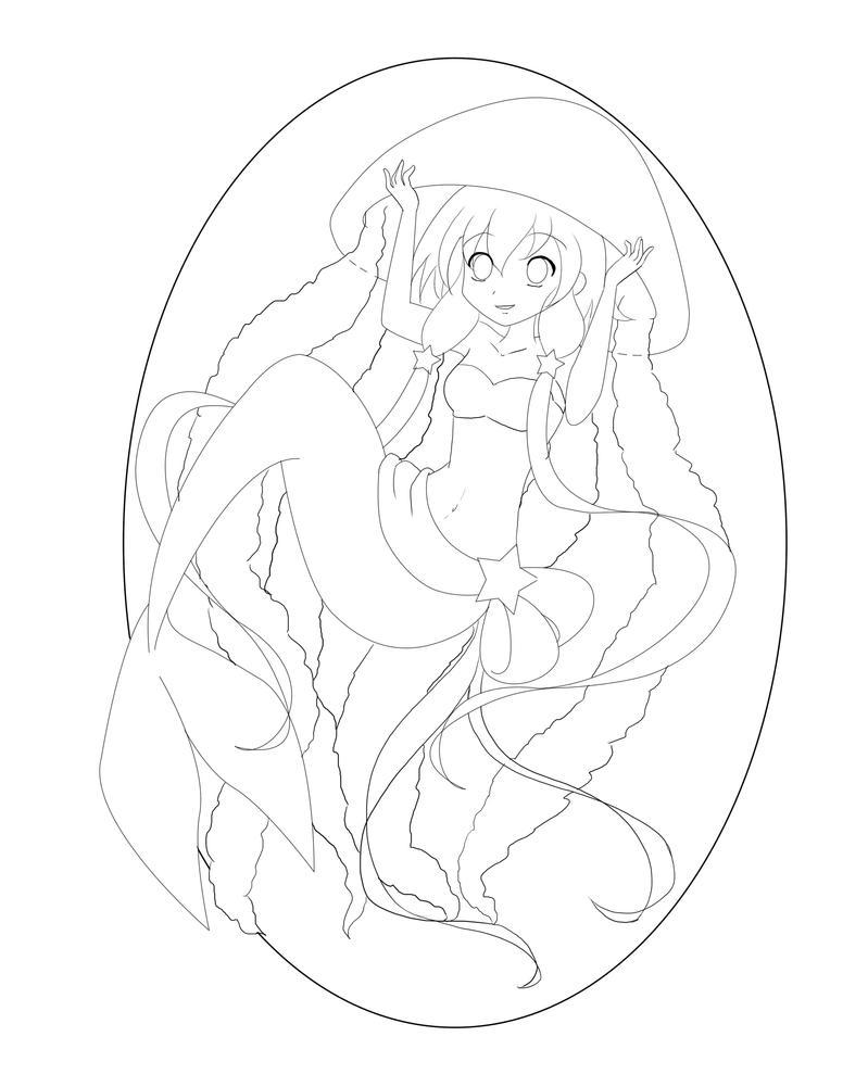 Mermaid Line Art by VioletEmbersYT
