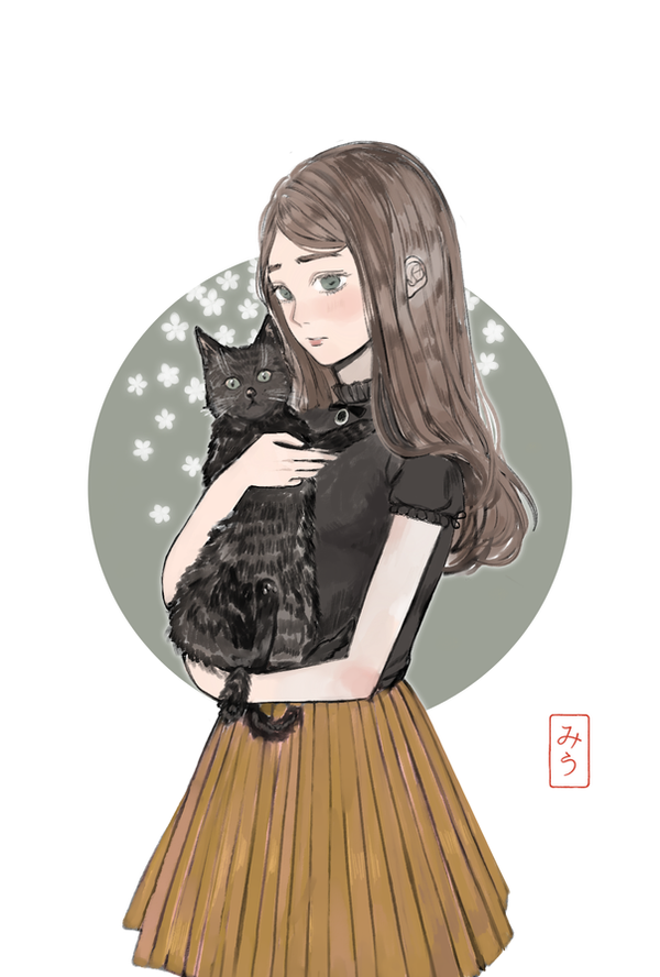 girl and cat by miu-ne