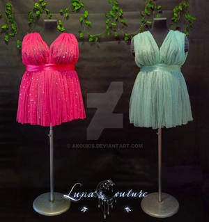 Hot Pink and Almond Green - Starry Dresses