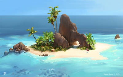 Parasol Island - Pink Trouble island concept by acapulc0