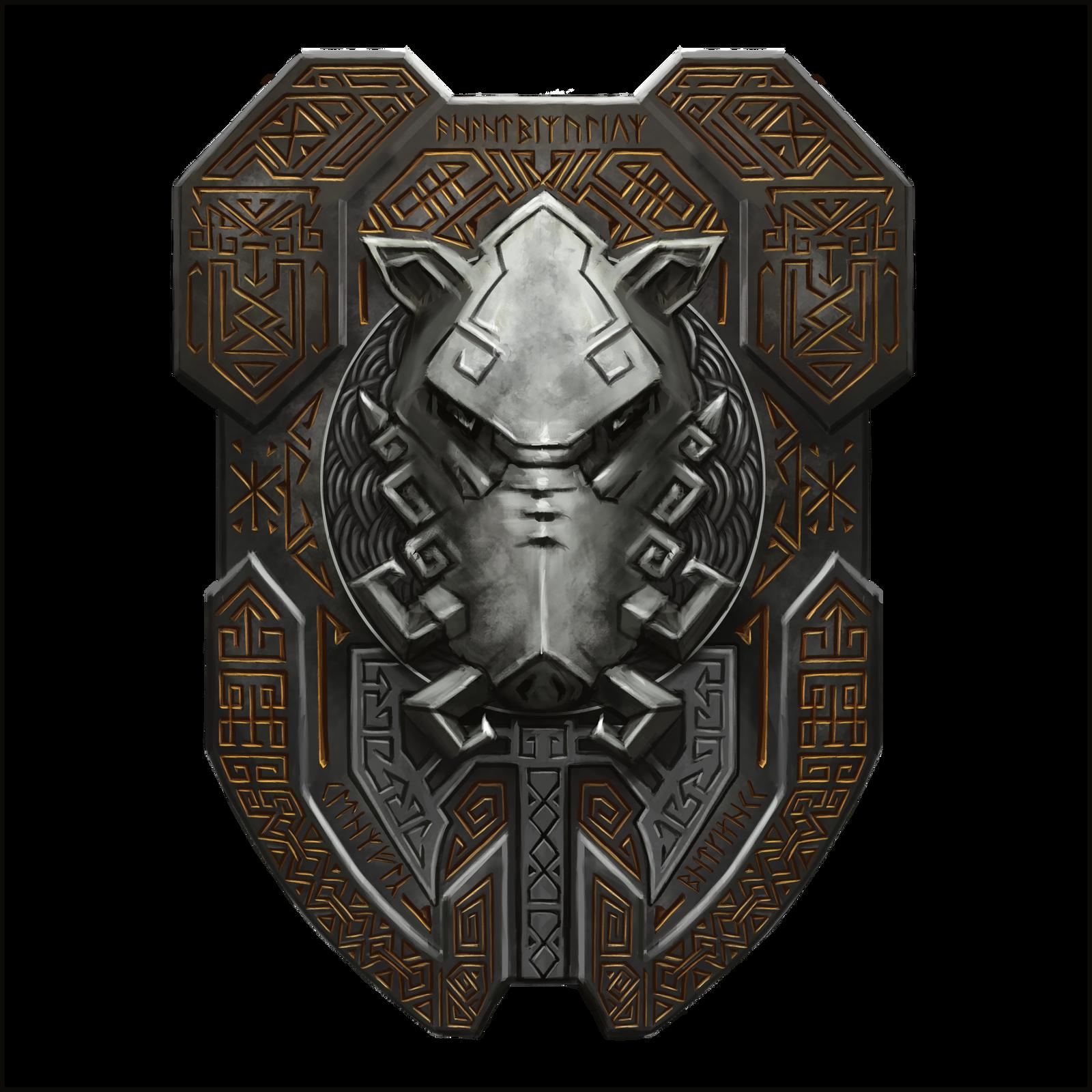 Boucliers et protections Dwarf_boar_shield_21_by_cyderak-d9i8n24