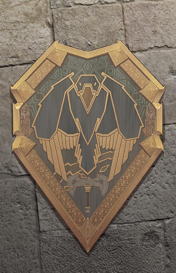 Crow dwarf-themed shield by cyderak