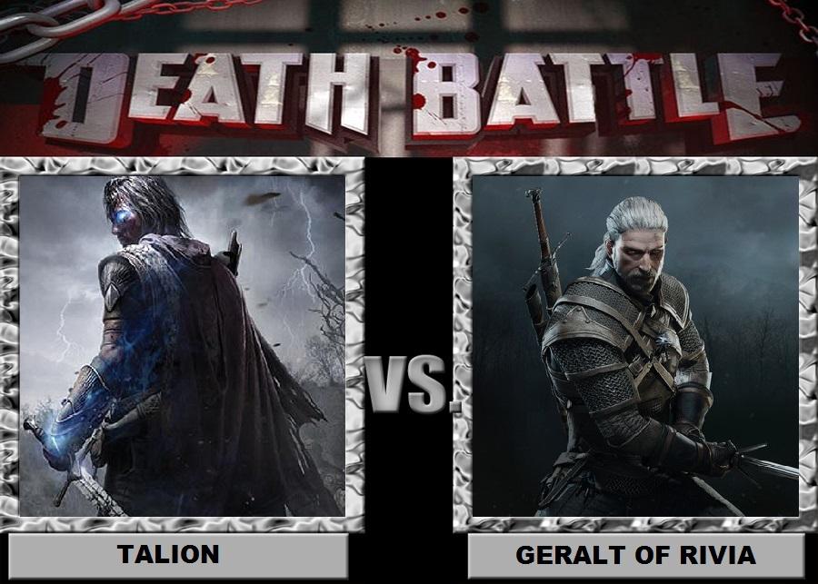 Talion vs Geralt of Rivia by Brasc