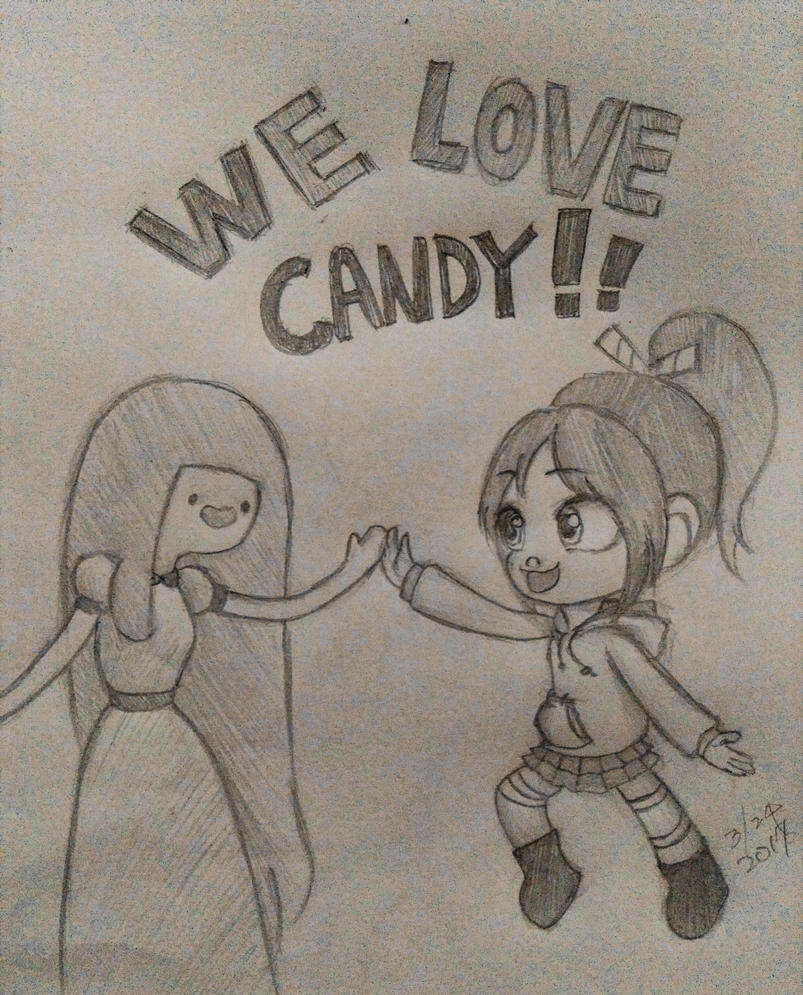 we love candy! princess bubblegum and vanellope by summilly